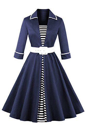 Women S 1950s Vintage 3 4 Sleeve Party Dress With Bow Rib Https Www Amazon Com D Long Sleeve Vintage Dresses Plus Size Vintage Dresses Vintage Black Dress