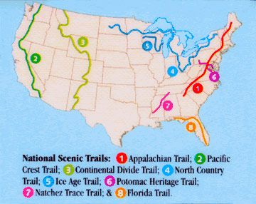 The National Trail System Continental Divide Pacific Crest - Map of us hiking trails