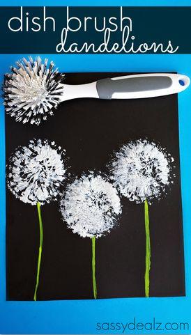dish-brush-dandelions-craft-for-kids