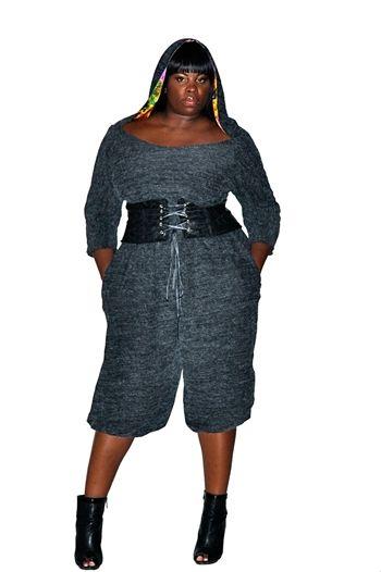 City Chic Hoodie Jumpsuit    plus size fashion