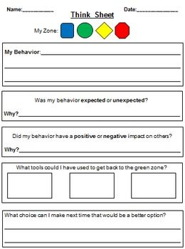 This think sheet is based on The Zones of Regulation Program that helps teach students about self-regulation.