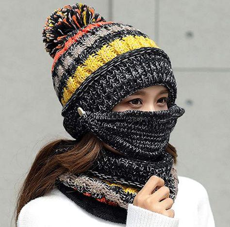 Womens Winter Scarf Set - Black strips
