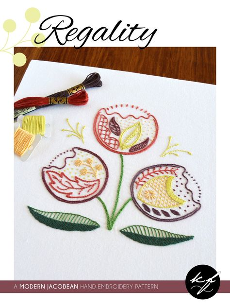 Regality hand embroidery pattern, a modern crewel embroidery pattern PDF