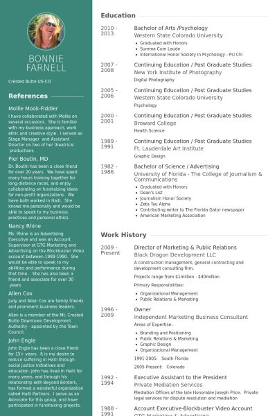Public Relations and Marketing Resume Download PDF version of - community relations resume