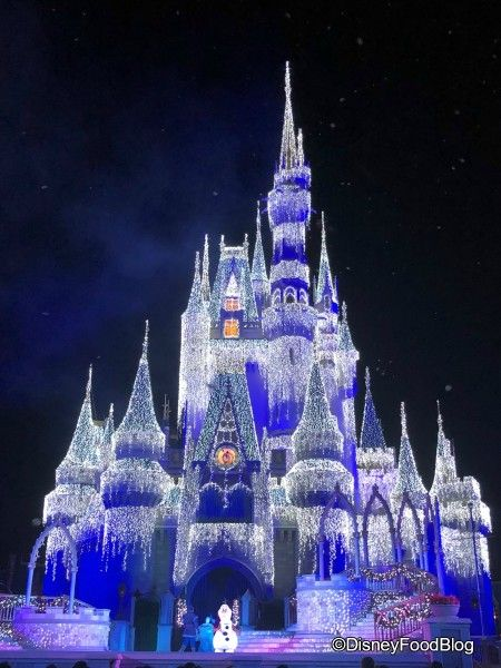Christmas Lights are Showing Up on Cinderella Castle in Magic