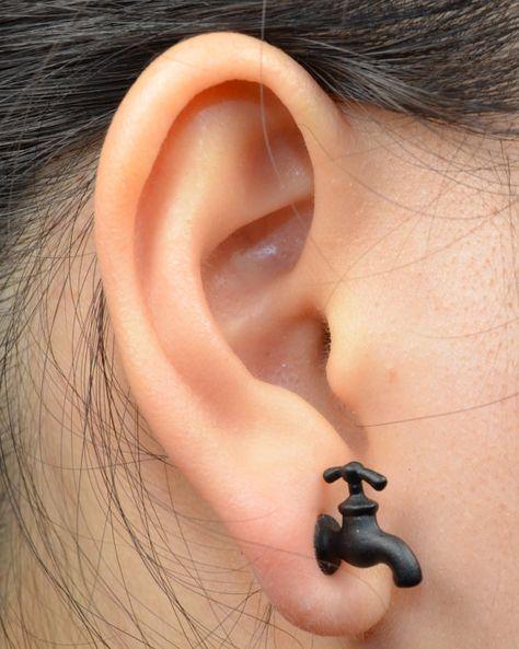Fake Gauge (1pc) faucet stud earring faucet studs Punk Rock Goth Metal Faucet Ear Stud Earrings Faucet Vintage mini earring studs.E977325