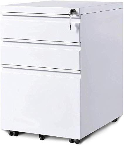 The 3 Drawer Mobile File Cabinets Rolling Metal Filing Cabinet Legal Letter File Anti Tilt Design Lock Under Desk Office Drawers Fully Assembled Except Cast In 2020 Mobile File Cabinet Filing Cabinet
