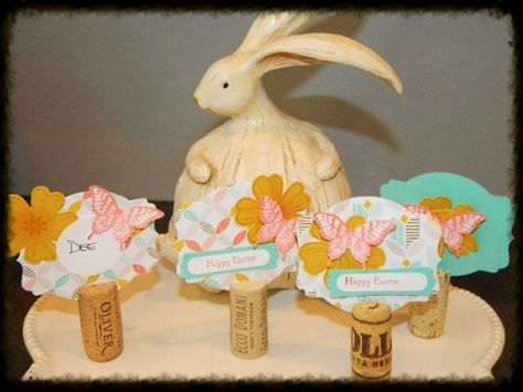 Wine Cork Name Cards or Table Tent holders. Happy Crafting!~ Dee  Deco Label Framelits, Flower Shop, Papillion Potpourri, Elegant Butterfly Punch, Pansy Punch