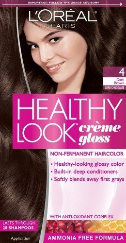 L'Oreal Paris Healthy Look Creme Gloss Color, Dark Brown/...