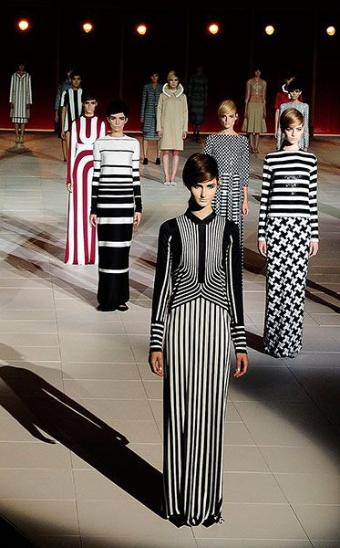 Jim Lambie Models converge. Seen together, Jacobs' show recalls both Jim Lambie's stripes and Betty Draper's evening wardrobe