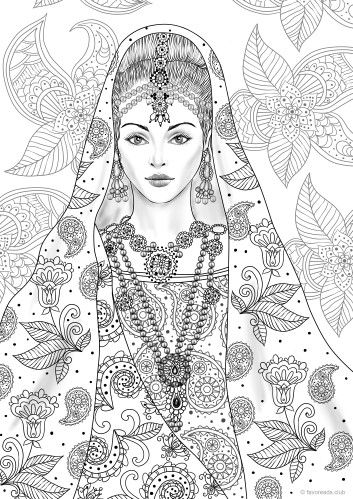 Indian Girl Printable Adult Coloring