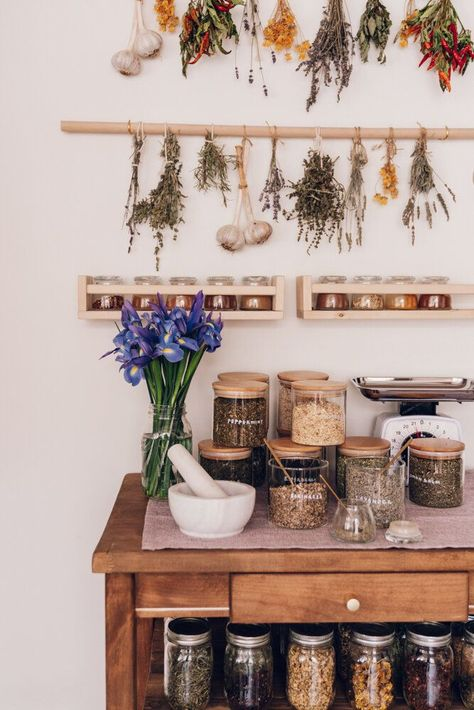 Want to create a home herbal apothecary for holistic health and wellness? We are breaking down the top 10 must have herbs a herbalist and integrative dietitian swears by for your home herbal apothecary. Kitchen Witch, Kitchen Decor, Herbal Kitchen, Apothecary Decor, Jars Decor, Apothecary Cabinet, My Dream Home, Herbalism, Home Kitchens