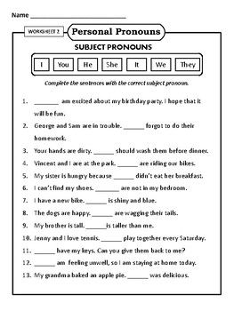 Personal Pronouns Subject And Object Pronouns Worksheets