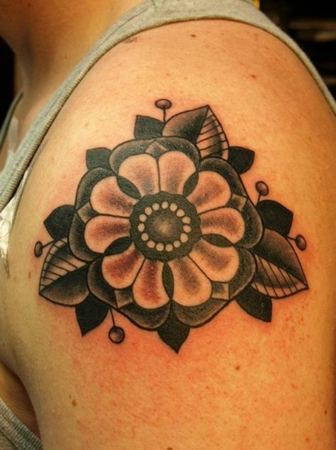 Black and Grey Classic Flower Tattoo By Bryony Alys   #tattoo #tattoos #traditional #traditionaltattoo #cheltenham #cheltenhamtattoo #tattooart #classic #black #flower #upper #arm #popular #hot #for #guys #girls #men #women #no #regrets #studio #noregretsstudio by tidebuyreviews