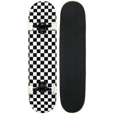 Pro Skateboard Complete Pre Built Checker Pattern 7 75 In Black White Walmart Com Pro Skateboards Cool Skateboards Skateboard