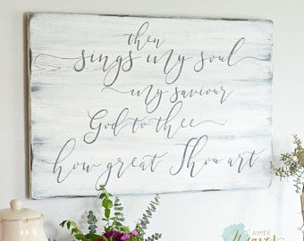 Hymn Sign How Great Thou Art Rustic Wall Decor Farmhouse Sign Quotes Metal Tree Wall Art Tree Wall Art Diy Art Gallery Wall