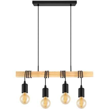 Suspension Eglo Townshend Noir Brun 4x60w Suspension Salon Lampe Suspension Et Suspension Design