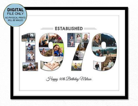 40 Vierzig Geburtstagsgeschenk Foto 40 40 Geburtstag Foto Collage