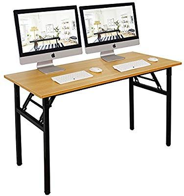 Amazon Com Dlandhome 55 Large Folding Table No Install Needed Composite Wood Board Home Office Home Office Computer Desk Computer Table Home Office Desks