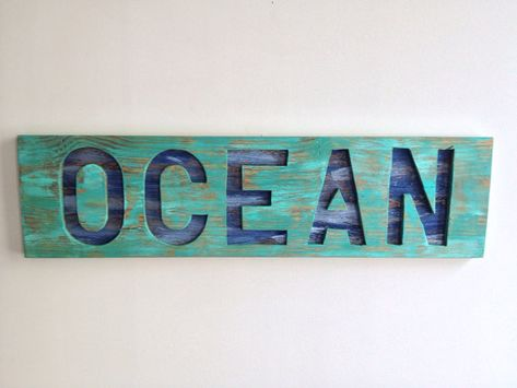 Rustic Beach House Decor OCEAN cut out of Reclaimed Wood  on Etsy, $85.00