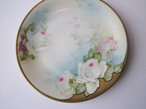 Vintage Prussia Royal Rudolstadt Pink White Rose by jenscloset