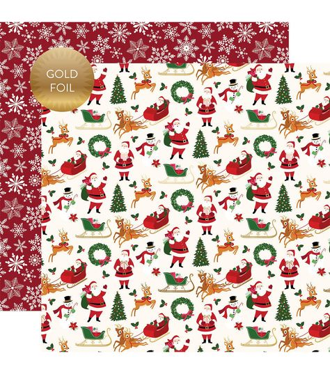 Merry Bright Gold Foiled Double Sided Cardstock 12x12 Merry