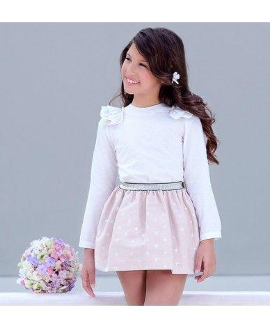 416a4a27a Conjunto de camisa y falda para niñas de 6 a 10 años. Camisa blanca ...