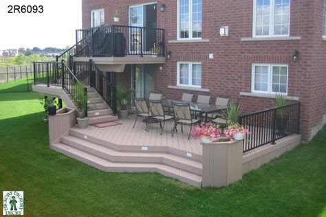 Large, high, two level deck with planter boxes (#2R6093). This would be an awesome layout for a brick/stone patio!