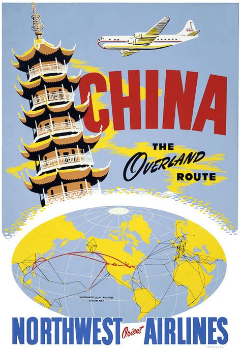 "China, the Overland Route. Northwest Orient Airlines. Vintage travel poster, circa 1950. Includes a ""Northwest Orient Airlines System Map."""