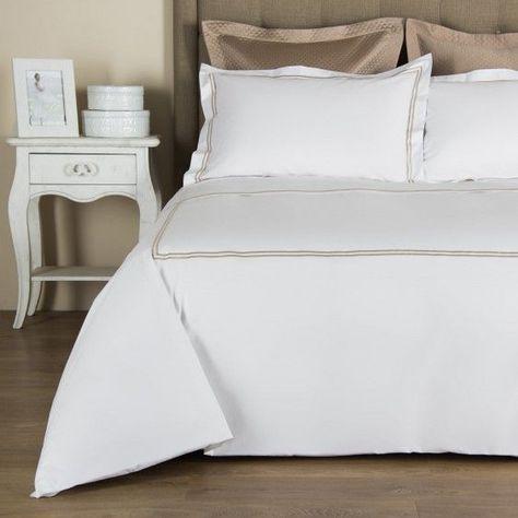 Copripiumino Frette.Hotel Classic Duvet Cover In White Khaki By Frette Copripiumino