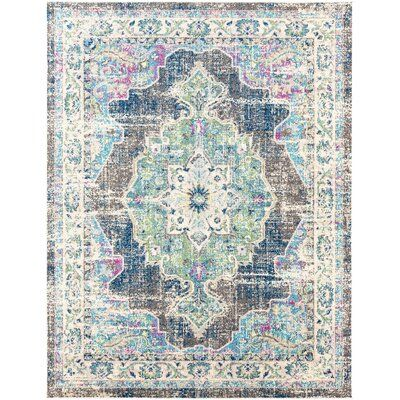 Bungalow Rose Annabel Power Loom Navy Blue Area Rug Reviews