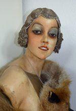 Flapper Cloche, flapper headpice, french silver Bullion Hair Cloche