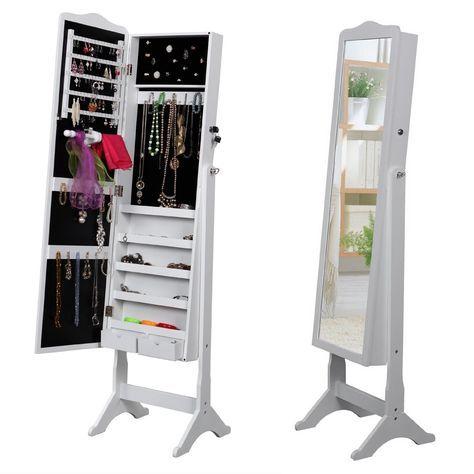 Songmics Armoire à Bijoux Rangement Avec Miroir Et Clés 158 X 41 X 38cm  JBC82W: Amazon.fr: Cuisine U0026 Maison