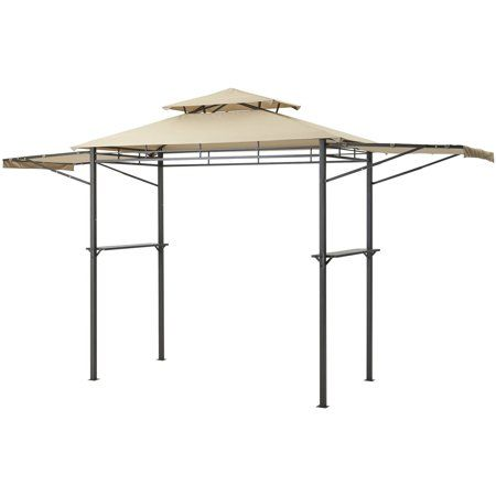 Mainstays Grill Gazebo With Optional Adjustable Awning Brown