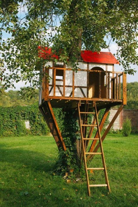 Baumhaus Kinder Garten Bauen Leiter Gras Baum Gruen Natur Ideas
