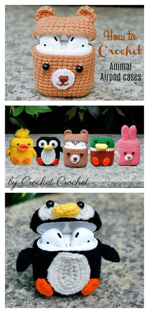 How to Crochet 5 Animal Style Airpods Cases This Adorable Airpods Case Crochet Pattern makes a cute case that holds the Airpods. They are easy to make and use up very little yarn and offer instant gratification crafting. Crochet Pattern Free, Crochet Animal Patterns, Crochet Patterns Amigurumi, Stuffed Animal Patterns, Crochet Stitches, Easy Crochet Animals, Crocheting Patterns, Amigurumi Toys, Crochet Case