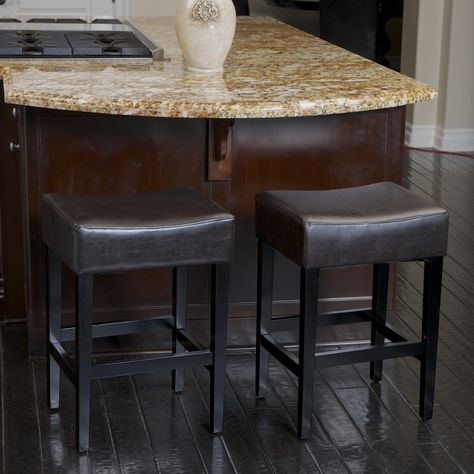 Lopez 27 Inch Backless Brown Leather Counterstools Set Of 2 By Christopher Knight Home Backless Bar Stools Counter Stools Leather Counter Stools
