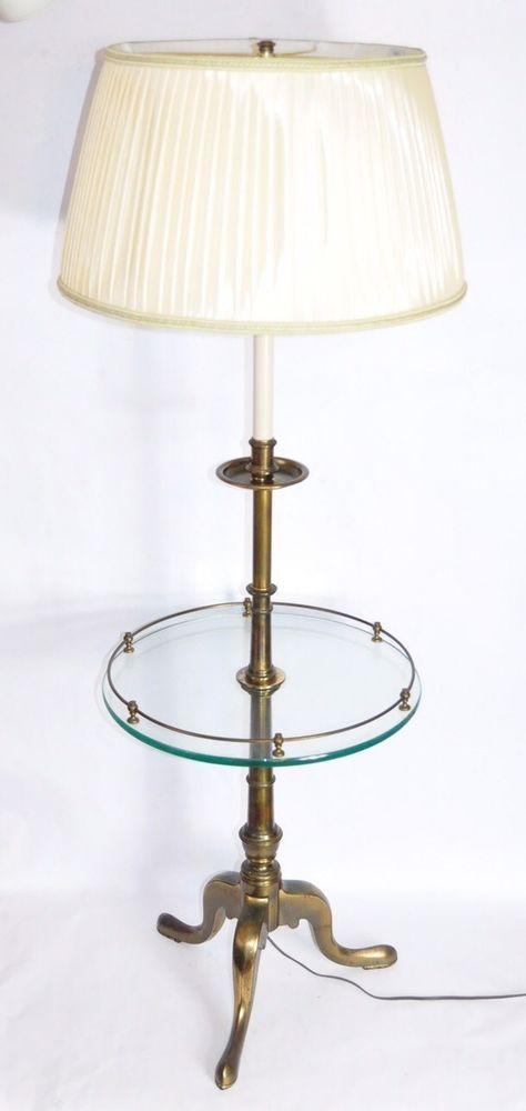 Vintage Stiffel Brass Floor Lamp W Round Glass Table Triple Leg