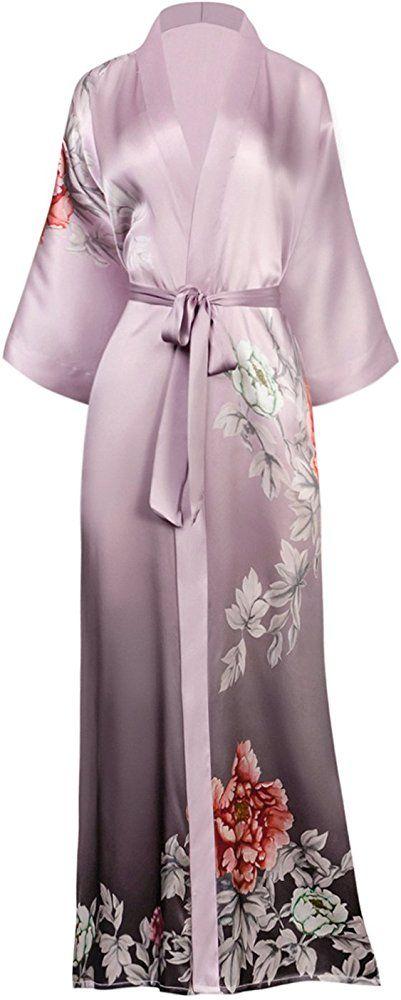 Silk Kimono Robe Summer Kimono Dress Long Floral Kimono Lounge Wear Kimono