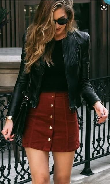 Button bodycon Lace Up Leather Skirt - Wine red / S / China