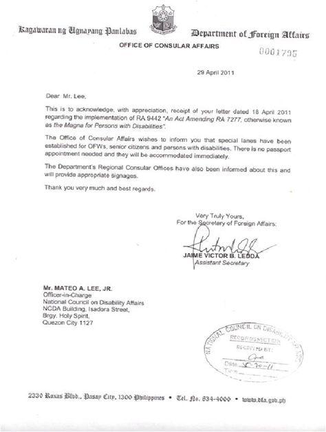 dfa letter national council disability affairs authorization - passport authorization letter