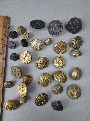 30 Vintage U S NAVY BUTTONS,Brass,Anchors, 9/16