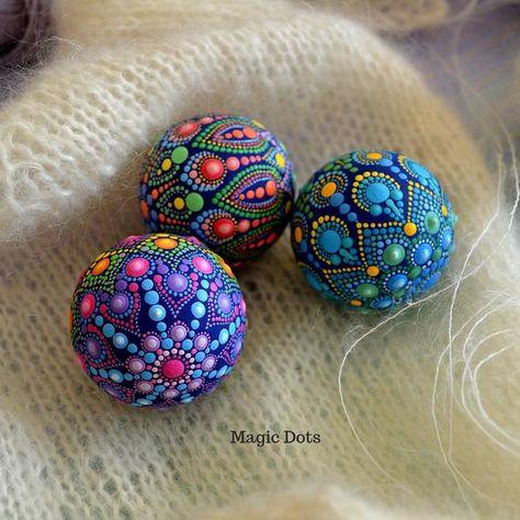 Hand Painted Dotted Tactile Anti-Stress Mandala Ball   Etsy
