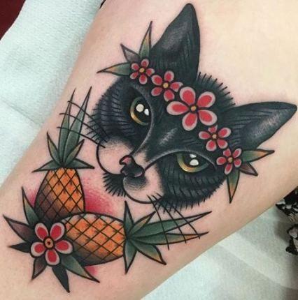 36 Ideas For Tattoo Traditional Cat Ideas Tattoo Traditional Style Tattoo Pineapple Tattoo Black Cat Tattoos
