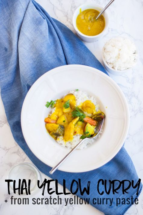 Comfort food a big bowl of ThaiYellow Curry. Warm spices, creamy coconut, veggies and herbs. This recipe is AMAZING. #glutenfree, can be #vegetarian if you use tofu