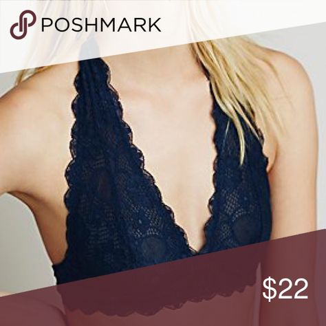 de41a05431471 Halter bra Navy blue Stretchy and soft lace halter bralette with a plunging  neckline