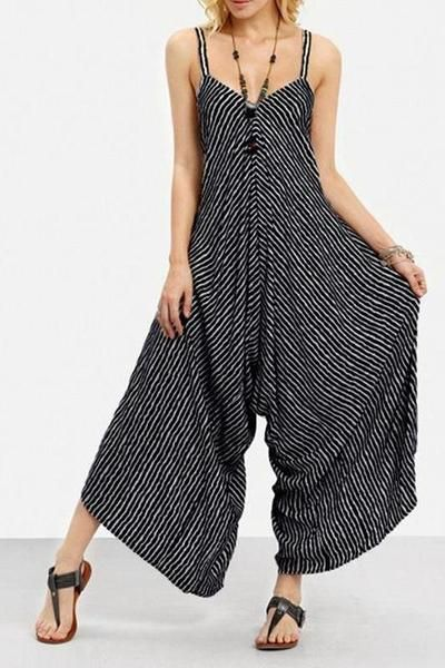 Womens V Neck Spaghetti Strap Jumpsuit Wide Leg Long Pants Rompers with Belt