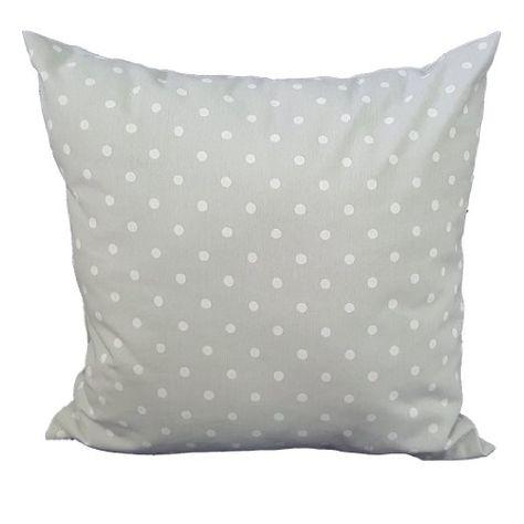 Cuscino salotto Grigio pois bianco 60x60 arredo arredamento casa divano letto in cotone, Euronovità Srl- MADE IN ITALY