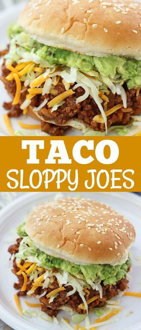 These Taco Sloppy Joes are the perfect mix of two dinnertime favorites! They are quick, easy to make, and a total crowd pleaser. Load them up with your favorite toppings and serve for an awesome dinner or for parties and tailgates! #sloppyjoes #familydinner #tailgates #summerfood