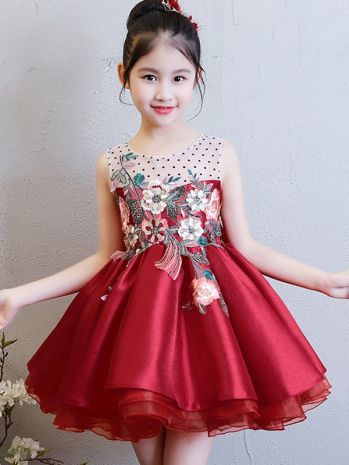 Childrens Kids Girls Elegant Formal Vintage Style Flower Embroidered Dress Gown
